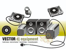 Vector  turntable & loudspeaker & microphone. Vector illustration of dj equipment,contains:turntable, vinyl's ,headphone,microphone,loudspeakers Royalty Free Stock Photo