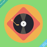 Vector turntable player icon. Flat design. Vector turntable player icon - vector illustration. Flat design element Stock Photos