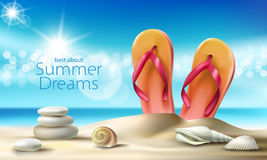 Vector turquoise background with summer sandy beach, seashells, pebbles and beach slippers Royalty Free Stock Photos