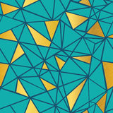 Vector Turquoise Blue and Gold Foil Geometric Mosaic Triangles Repeat Seamless Pattern Background. Can Be Used For Royalty Free Stock Photography