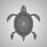 Vector Turtle, tattoo style. Black on gradient background Royalty Free Stock Photo