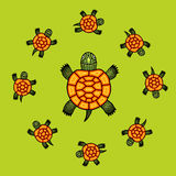 Vector turtles. Illustration with bright hand drawn turtles Royalty Free Stock Images