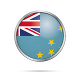 Vector Tuvaluan flag button. Tuvalu flag in glass button style. Stock Photography