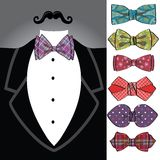Vector tuxedo with ornamental bow tie set Stock Image