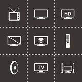 Vector tv icon set Royalty Free Stock Images