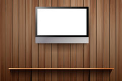 Vector tv on wooden wall Stock Photography