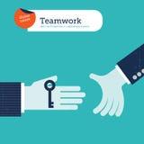 Vector twee handen die een sleutel aanbieden Royalty-vrije Stock Fotografie