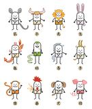 Twelve Chinese Zodiac Cartoon Characters Signs. Vector Twelve Chinese Zodiac Cartoon Characters Signs vector illustration