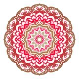 Vector twelve-pointed Christmas mandala of red shades. Vector abstract twelve-pointed red mandala on a white background. Christmas pattern stock illustration