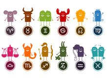 Twelve Zodiac Silhouette Cartoon Signs. Vector Twelve Zodiac Silhouette Cartoon Signs stock illustration