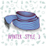 Vector twisted blue knitted scarf. Royalty Free Stock Images