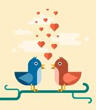 Vector two birds singing love song. Concept illustration Stock Photos