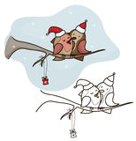 Vector two birds sitting on branch, Christmas card. Royalty Free Stock Images