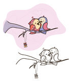 Vector two birds sitting on branch, for Valentines  day design. Stock Photos