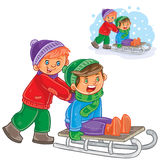 Vector two boys friends ride a sled Royalty Free Stock Image