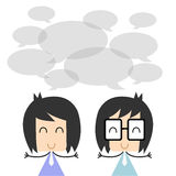 Vector two business people talking and discussing. flat character design, Illustration EPS10 Royalty Free Stock Photography