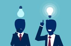 Vector of two businessmen thinking looking up at light bulbs one having a bright idea another feeling confused stock illustration