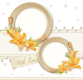 Vector with  two  circular  photo frames, lilies Royalty Free Stock Image