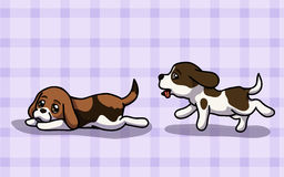 Vector Two cute Beagle. Vector illustration two Beagle have fun time in cartoon style Stock Photos