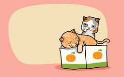 Vector Two cute cats. Vector illustration two cute cats, cartoon style Royalty Free Stock Image