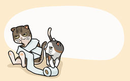 Vector Two cute cats are play. Vector illustration two cute cats, cartoon style Stock Images