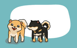 Vector Two cute Shiba Inu dogs. Vector illustration two Shiba Inu have fun time in cartoon style Stock Photo