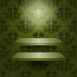Vector two empty shelves isolated. Two empty shelves isolated on a beautiful green background Royalty Free Stock Images