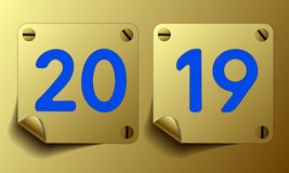 Vector 2019 on two gold icons stock illustration
