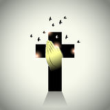 Vector: Two hands with prayer in cross and pigeons flying Stock Photos