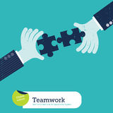 Vector two hands with puzzle Royalty Free Stock Photos