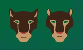Vector two heads of cougar animals. Male and female wildcats. Stylized image. Vector two heads of cougar animals. Male and female are wildcats. Decorative Stock Photos