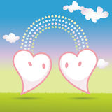 Vector. Two hearts meetting Stock Image