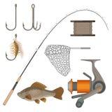 Vector of two hooks, bobbin, landing net, spinning reel, fish-rod Royalty Free Stock Photos