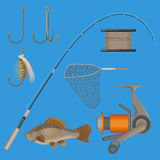 Vector of two hooks, bobbin, landing net, spinning reel, fish-rod Royalty Free Stock Image
