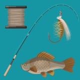 Vector of two hooks, bobbin, landing net, spinning reel, fish-rod Royalty Free Stock Photo