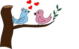 Vector Two little birds sitting on a tree vector illustration
