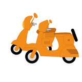 Vector Two Orange Scooters Isolated Royalty Free Stock Photography