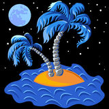 Vector Two palm trees on an island at midnight. Tropical landscape of the island in the ocean and two palm trees at midnight Stock Image