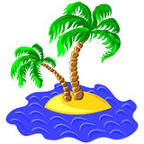 vector Two palm trees on an island in the ocean Royalty Free Stock Image
