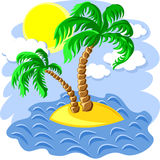 Vector Two palm trees on an island in the ocean. Tropical landscape of the island in the ocean and two palm trees at noon Royalty Free Stock Photo