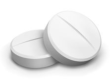 Vector two pills. Vector illustration two white pills tablets isolated Stock Image