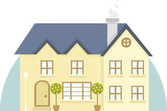 Vector two story house icon. Vector illustration of house in flat style design Stock Image