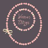 Vector two strings of beads with the inscription `women things` stock illustration