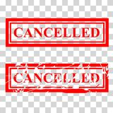 Two Style Rubber Stamp Effect, Cancelled. Vector Two Style Rubber Stamp Effect, Cancelled stock illustration