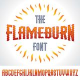 Vector type font created using burning fire. Creative and conceptual sign Stock Images