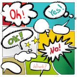 Vector typical comic book page with various speech bubbles Royalty Free Stock Images