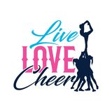 Vector Typo Live Love Cheer Silhouette. Vector Quote Typo Live Love Cheer, cheerleader flyer and base Silhouette. good for tee design, wall art, wall decor royalty free illustration