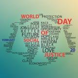 Vector Typografiewelttag des Plakats oder des Hintergrundes der sozialen Gerechtigkeit Lizenzfreies Stockfoto