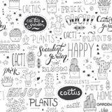 Vector typografisch naadloos patroon met succulents, cactussen en moderne het van letters voorzien uitdrukkingen vector illustratie