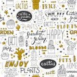 Vector typografisch naadloos patroon met succulents, cactussen, moderne het van letters voorzien uitdrukkingen en gouden elemente royalty-vrije illustratie
